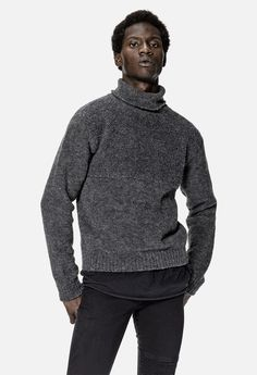 Block Turtleneck Sweater / Grey