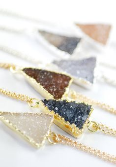 Keli'i bracelet gold triangle druzy bracelet by www.kealohajewelry.etsy.com maui, hawaii