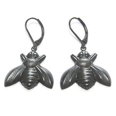 Gunmetal plated bee earrings