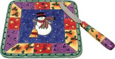 Sango Sweet Shoppe Christmas Cheese Tray with Knife Rich colors for holiday festivities!