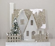 putz christmas template houses google decorations glitter paper