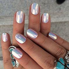 makeup beauty tips fashion style nail art braid styles holographic nails nail stickers nail accessories nail polish hippie rad metallic nails colorful holographic Metallic Nail Polish, Holographic Nail Polish, Polish Nails, Nail Polishes, Chrome Nail Polish, Metallic Makeup, Metallic Pink, Chrome Nails Designs, Nail Designs