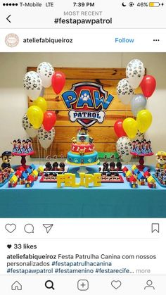7 Awesome Paw Patrol Party Ideas for Your Kids' Birthday Fun Looking for an exclusive theme for your kids' birthday party? The Paw Patrol could be one of the coolest inspirations that might exceed your expectation. Birthday Party Games, 4th Birthday Parties, Diy Birthday, Birthday Table, Paw Payrol Birthday, Birthday Quotes, Cumple Paw Patrol, Third Birthday, Birthday Party Decorations