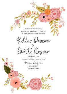 Print: Romantic Botanical Free Printable Wedding Invitation Suite