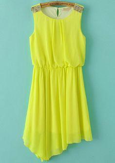 Yellow Sleeveless Rhinestone Asymmetrical Pleated Dress 18.83