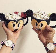 Mickey and Minnie mugs, so cute