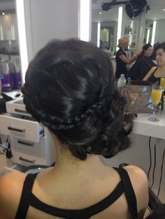 Messy side bun with braid up do, rear view. #vineyard #outdoor wedding for a flowy dress