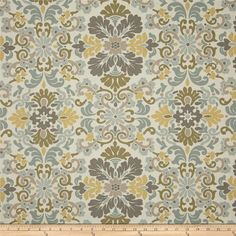 Waverly curtains  folk damask curtains bliss gray tan curtains 25 inches wide 63, 72 or 84 long