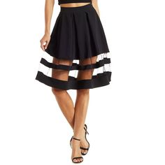 Charlotte Russe Organza-Striped Full Midi Skirt ($27) ❤ liked on Polyvore featuring skirts, black, flared skirt, black skirt, black high waisted skirt, black knee length skirt and black stretch skirt