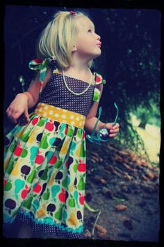 Magical Pear and Apple Fall Toddler Dress  4T by SushiPizzaAndLove, $36.00