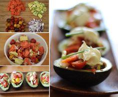 Avocado-boats-lox-tomatoes-creme-fraiche