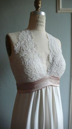 50+Deposit+French+Lace+Halter+Gown+and+Mantilla+Veil+by+rschone