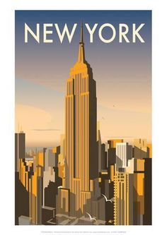 Poster New York Skyline, Retro-Werbung von Dave Thompson East Urban Home New York Poster, Poster S, Poster Prints, Art Prints, Poster Wall, Art Deco Posters, Vintage Travel Posters, Retro Posters, Movie Posters