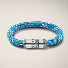 CLASSIC CHAIN COLLECTION Station Bracelet on Multicolor Light-Blue Sailing Cord 8.5mm. All in Sterling Silver.