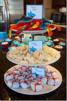 Shark Party Snacks Ocean Party, Boy Birthday Parties, 7th Birthday, Mermaid Birthday, Birthday Ideas, Happy Birthday, Shark Snacks, Pool Party Snacks, Luau Party