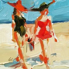 High Fashion at the Beach, painting by artist Sally Cummings Shisler