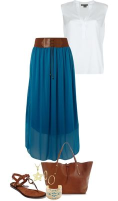 """Belted Skirt"" by sjpayne ❤ liked on Polyvore"