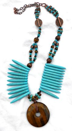 Turquoise howlite stone, tigers eye stone, copper knotted chunky necklace.
