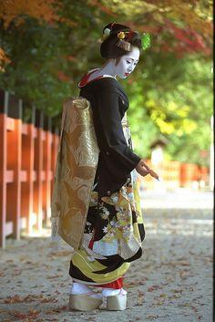 Maiko posing in her formal black kimono.