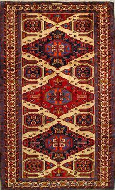 "Heriz Persian Rug, Buy Handmade Heriz Persian Rug 4' 7"" x 10' 5"", Authentic Persian Rug"