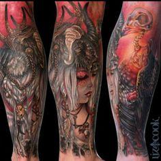 Crazy #tattoo piece by Liz Cook Tattoo (Dallas, TX)   Do you like this style?  www.facebook.com/Tattooedink FOLLOW BLOG: http://tattooedpage.tumblr.com/ #tattoos #tattoo #tattooed #art #ink #artist #realistic #realism #tattooartist #awesometattoos #besttattoos #blackandgreytattoos #colortattoos #followme #lizcook