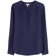 Joie Carita Blouse - Blue Violet (14,525 PHP) ❤ liked on Polyvore featuring tops, blouses, blue violet, joie, blue top, joie tops, v-neck tops and silk v neck blouse