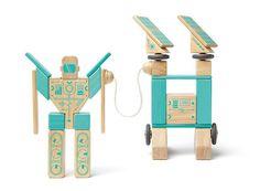 Tegu Magnetron set lets kids turn magnetic wooden blocks into robots or...whatever. Fantastic travel toy!