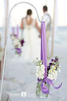 Aisle markers  |  Mason jars  |  Purple and green weddings  |  Aislinn Kate Photography