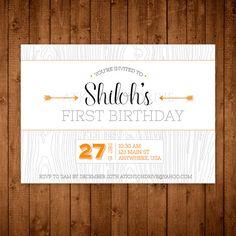 Modern Woodland Birthday Party Invitation. by AtkinsonDrive