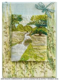 """""""Does this display Capabilities?"""" by Ann Rogers member of Embroiderers' Guild Leamington & District branch. Silk paper, machine and hand embroidery. Displayed as part of the """"Landscapes of Capability Brown"""" exhibition at Charlecote Park 17 March - 30 October 2016 showing work based on the beautiful landscape and grounds. Exhibition held as part of the UK's Capability Brown Festival"""