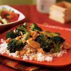 Kung Pao Chicken Recipe Main Dishes with canola oil, broccoli florets, fresh ginger, water, crushed red pepper, boneless skinless chicken breasts, fat free less sodium chicken broth, hoisin sauce, rice vinegar, low sodium soy sauce, corn starch, garlic cloves, salted peanuts