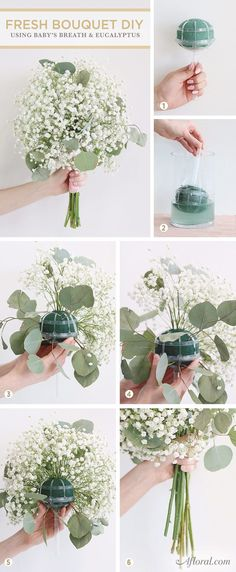 DIY Fresh Wedding Bouquet with Baby's Breath & Eucalyptus using Afloral's bouquet holder.
