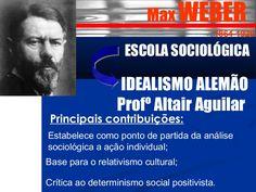 Max WEBER  1864-1920  ESCOLA SOCIOLÓGICA  IDEALISMO ALEMÃO  Profº Altair Aguilar  Principais contribuições:  Estabelece como ponto de partida da análise  socio…