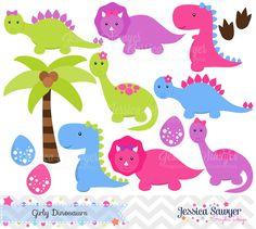 INSTANT DOWNLOAD Girls Dinosaur Clipart by JessicaSawyerDesign