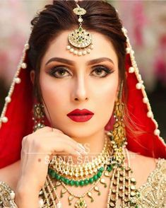 A-Line Wedding Dresses Collections Overview 36 Gorgeou… Pakistani Bridal Makeup Hairstyles, Pakistani Wedding Outfits, Bridal Hair And Makeup, Bridal Outfits, Bridal Beauty, Pakistani Dresses, Beautiful Girl Image, Beautiful Bride, Kebaya Wedding