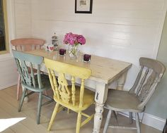 Shabby Chic Farmhouse Dining Table with Four Multicoloured Chairs - FREE UK DELIVERY on Etsy, £530.00