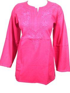Mogul Boho Indian Kurta Pink Tunic Tops Embroidered Cotton Summer Blouse Xl at Amazon Women's Clothing store: