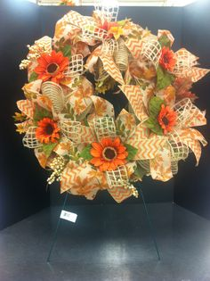 Orange chevron custom floral wreath by Andrea for Michaels Round Rock
