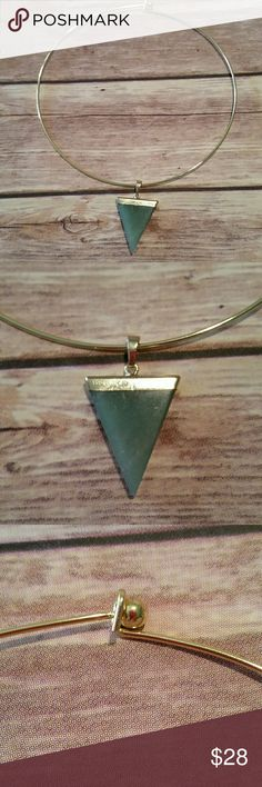 HEALING AVENTURINE NECKLACE Healing aventurine triangle gold tone necklace. Last photo is for inspiration only. hippie chic  Jewelry Necklaces