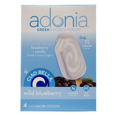 Ciao Bella Adonia Greek Frozen Yogurt Bars in Wild Blueberry  Your mind may know that these fruit-swirled bars have less than 100 calories, but your tongue will never get beyond the bliss-inducing taste.     Per bar: 75 cal, 0 g fat, 15 g carbs, 35 mg sodium. 0 g fiber, 5 g protein, 14 g sugar