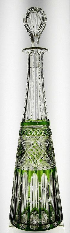Green cut-to-clear decanter, possibly Val St. Lambert