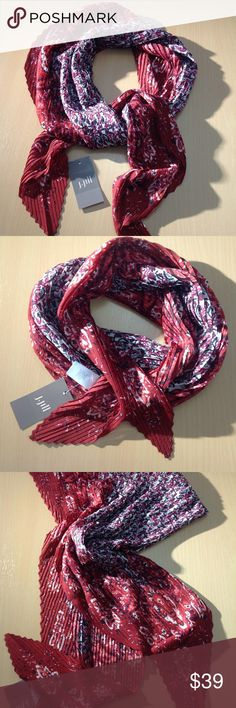 Luxurious Pleated Mixed-Paisley Square Scarf Luxurious Pleated Mixed-Paisley Square Scarf from J. Jill  Accordion pleats give our soft scarf dimensional texture and a beautiful drape.    Floral center with a mixed-paisley border. J. Jill Accessories Scarves & Wraps
