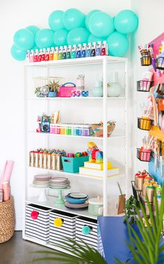 Take a tour of The Crafted Life's craft/photography studio! Gift Shop Interiors, Balloon Shop, Diy Home Decor, Room Decor, Party Stores, Party Shop, Craft Shop, Space Crafts, Beauty Room