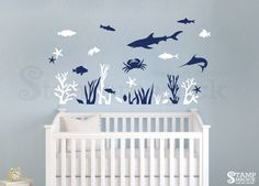 Fish Under Water Wall Decal for Nursery or Baby's Room - Under the Sea Wall Art boy girl - Underwater Ocean Shark Scene Decor - K239 by stampmagick on Etsy https://www.etsy.com/listing/236625042/fish-under-water-wall-decal-for-nursery