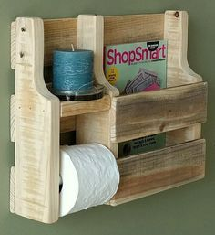 Rustic Magazine Rack Toilet Paper Holder made from by WoodXDesigns