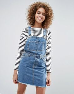ASOS Denim Classic Overall Dress With Raw Hem in Mid Wash Blue