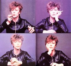 David Bowie contact sheet with leather jacket and cigarette. #davidbowie #leatherjacket #cigarette