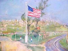 William Sommerfeld - Veterans Park with Flag, oil on canvas board