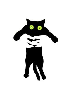 Crazy eyes black cat in hands - negative space Crazy Cat Lady, Crazy Cats, Illustration Tumblr, Cat Illustrations, Black Cat Art, Black Cats, Space Cat, Here Kitty Kitty, Hello Kitty