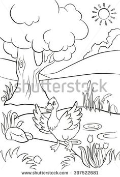 Coloring Pages Little Cute Monkey Is Hanging On The Tree Branch Smiling And Pointing